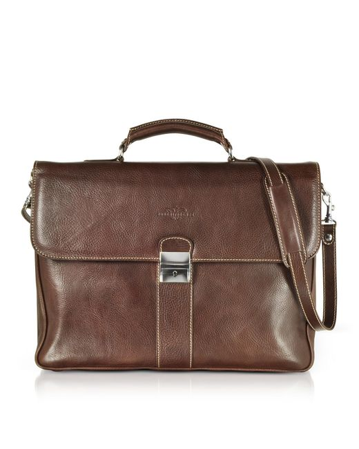 Robe Di Firenze - Dark Brown Double Gusset Leather Briefcase for Men - Lyst