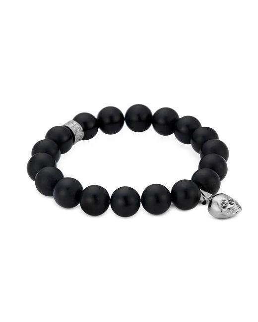 Northskull   Matte Black Onyx/silver Skull Bracelet With Black Crystal   Lyst