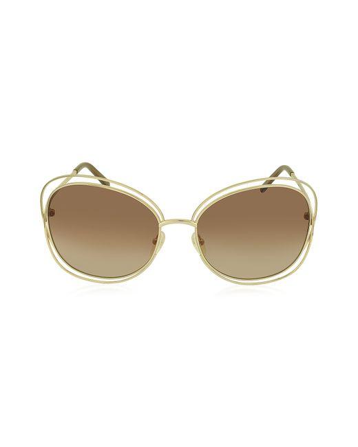 Chloé - Multicolor Carlina Ce 119s 786 Gold Metal Square Women's Sunglasses - Lyst
