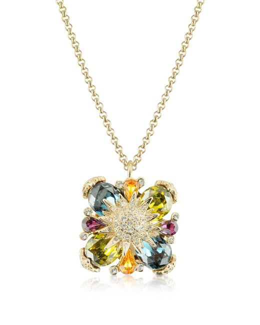 AZ Collection Metallic Gold-plated Flower Drop Necklace