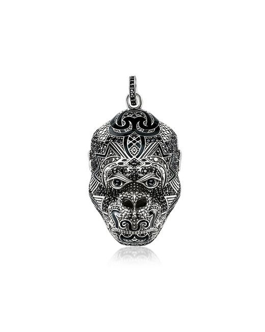 Thomas Sabo - Metallic Blackened Sterling Silver Monkey God Pendant W/black Zirconia And Onyx for Men - Lyst