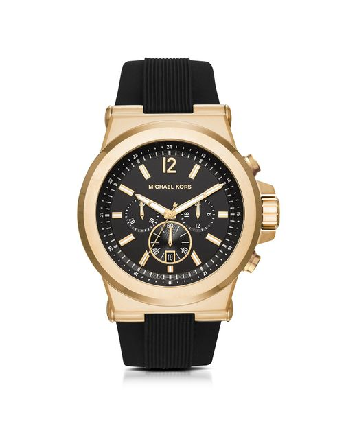 Michael Kors | Metallic Dylan Golden Stainless Steel Men's Watch W/rubber Strap for Men | Lyst