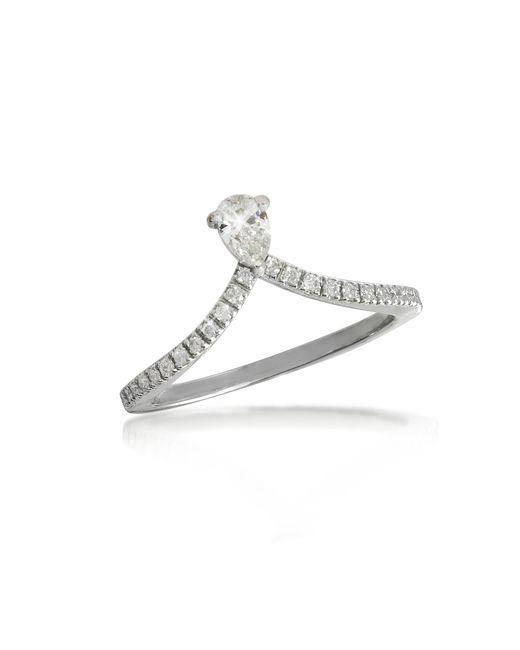 Forzieri - White Gold Drop Shaped Diamond Ring - Lyst