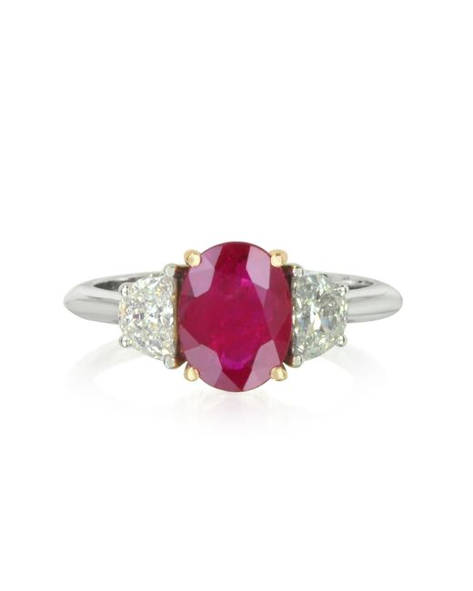 Forzieri - Red Ruby And Diamond Gold Ring - Lyst