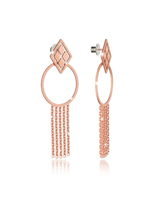 Rebecca - Pink Melrose Rose Gold Over Bronze Drop Hoop Earrings W/chain Fringes - Lyst