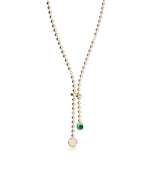 Rebecca - Boulevard Stone Yellow Gold Over Bronze Necklace W/hydrothermal Green Stone And Pendand Charm - Lyst