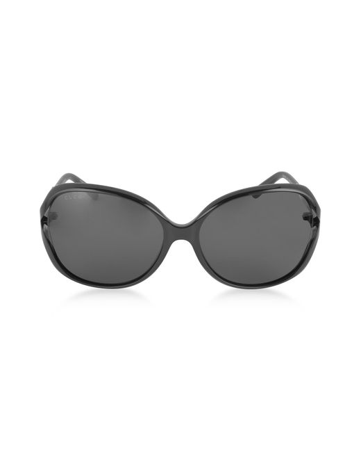 071ce046be2 Gucci - GG0076S 001 Black Acetate And Gold Metal Round Oversized Women s  Sunglasses - Lyst