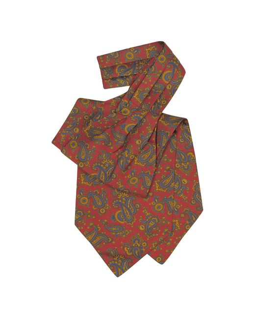 Forzieri - Red Large Paisley Print Silk Ascot for Men - Lyst