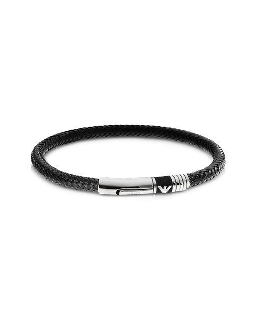 Emporio Armani - Black Herrenarmband aus gewobenem Edelstahl for Men - Lyst