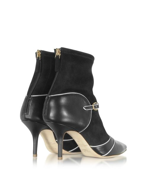 MALONE SOULIERS Designer Shoes, Color Block Nappa Leather and Stretch Suede Sadie Bootie