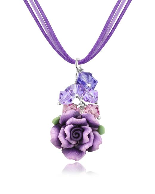 Dolci Gioie | Purple Rose Pendant W/lace | Lyst