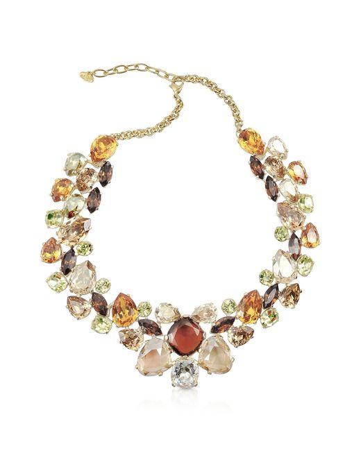 AZ Collection Brown Multicolor Crystal Necklace