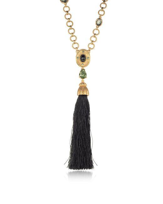 Oscar de la Renta | Metallic Crystal And Resin Tassel Pendant Necklace | Lyst