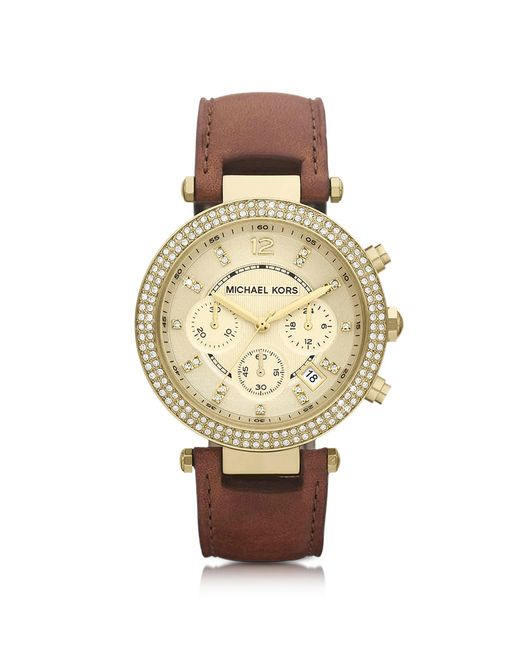 Michael Kors | Brown Mid-size Parker Chronograph Glitz Watch | Lyst