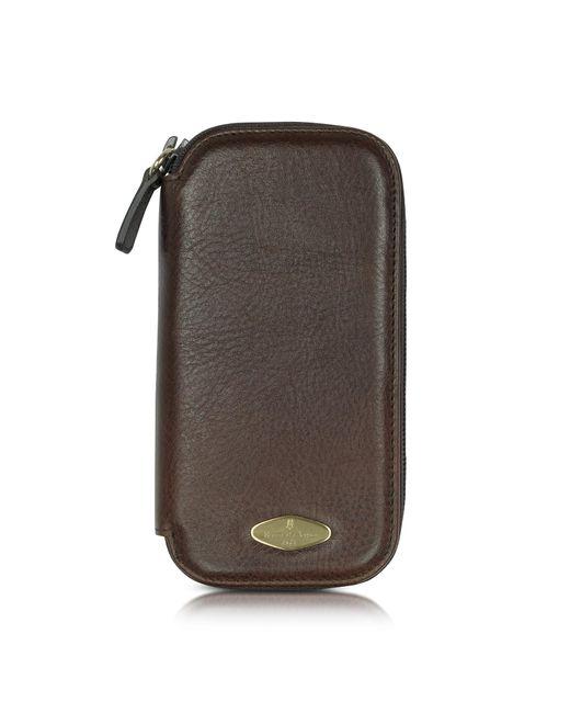 Porta Orologi in Pelle Marrone con Zip di Forzieri in Brown