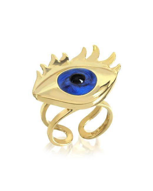 Bernard Delettrez - Metallic Blue Enamel Eye Bronze Ring - Lyst
