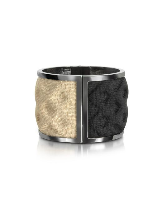 Avril 8790 | Double Ruthenium Plated Brass And Black/gold Viscose Bangle | Lyst