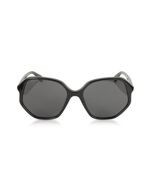 Gucci GG0258S Geometric-frame Black Acetate Sunglasses