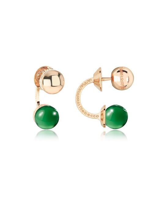 Rebecca | Boulevard Stone Yellow Gold Over Bronze Double Ball Drop Earrings W/green Hydrothermal Stone | Lyst