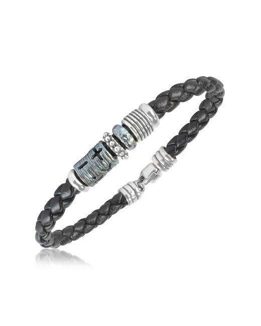 Tedora - Metallic Silver Band Braided Leather Bracelet for Men - Lyst