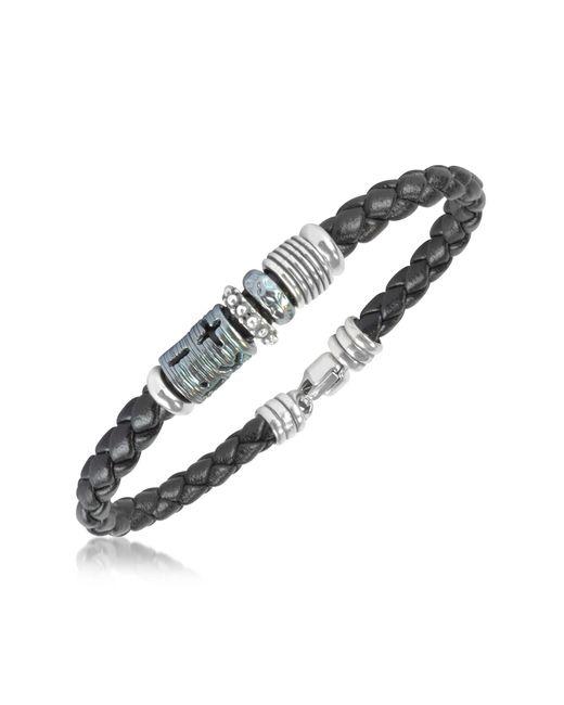 Tedora | Metallic Silver Band Braided Leather Bracelet for Men | Lyst