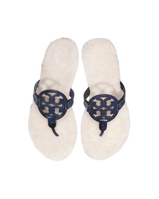 Tory Burch - Blue Perfect Navy Shearling Miller Flip Flop W/metal Logo - Lyst