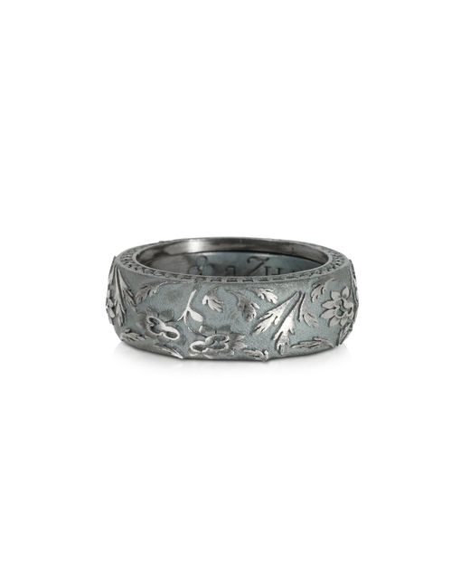 Azhar - Gray Bassorilievo Silver And Zircon Men's Ring for Men - Lyst