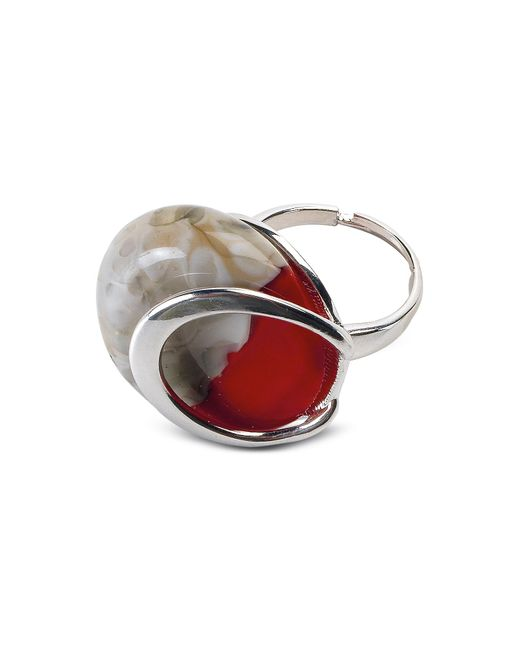 Antica Murrina - Oriental - Red Murano Glass Ring W/crackling Effect - Lyst