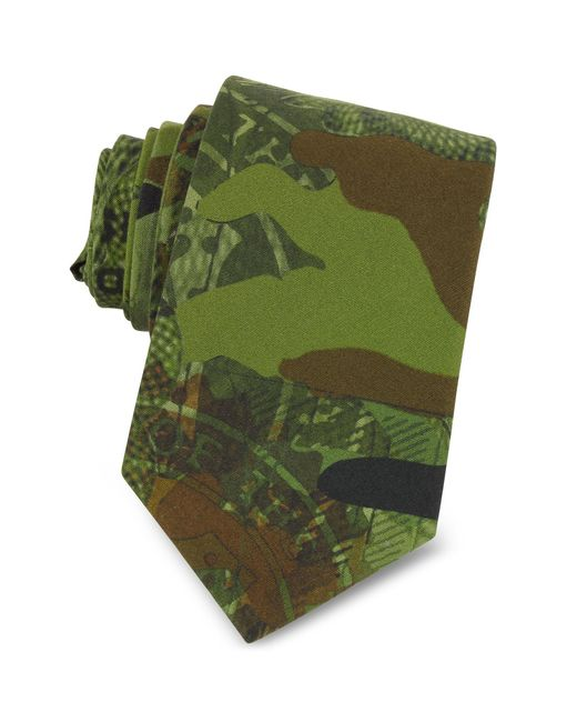 Givenchy - Green Camouflage And Money Printed Cotton Narrow Tie for Men - Lyst
