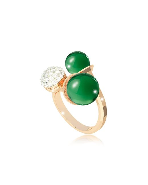 Rebecca | Boulevard Stone Yellow Gold Over Bronze Ring W/hydrothermal Green Stones And Cubic Zirconia | Lyst