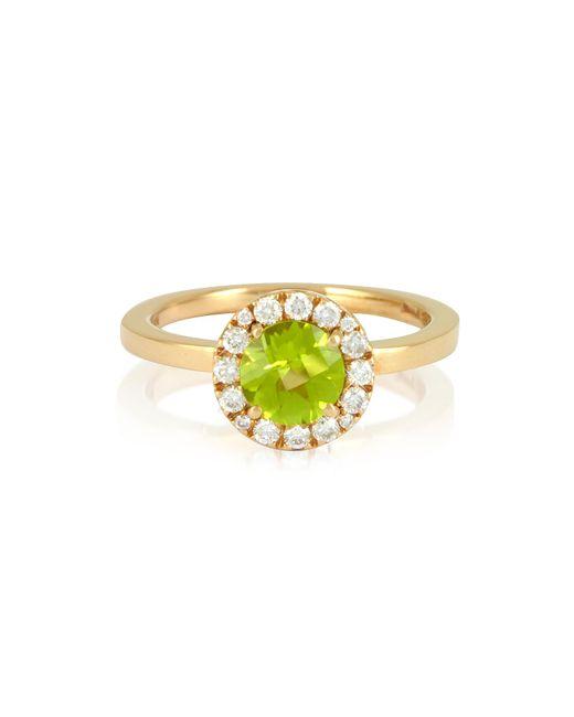 Forzieri - Metallic 0.22 Ct Diamond Pave 18k Gold Ring W/green Peridot - Lyst