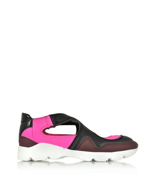 MM6 by Maison Martin Margiela Multicolor Color Block Nylon And Leather Sneakers