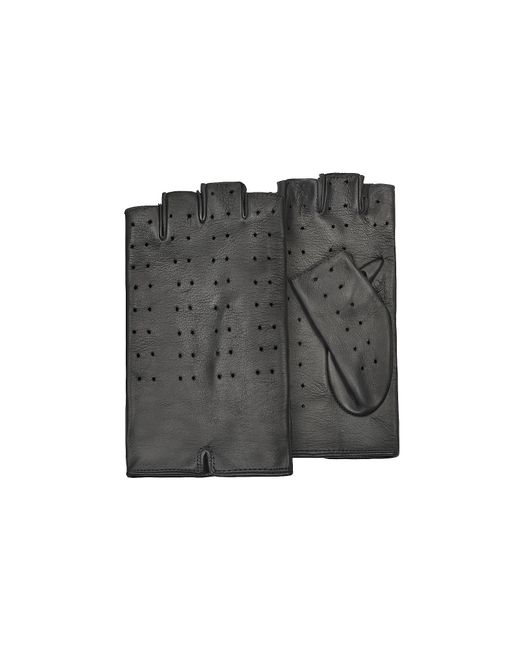 FORZIERI | Women's Black Perforated Fingerless Leather Gloves | Lyst