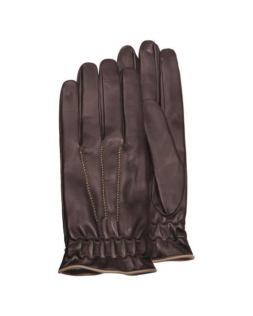 FORZIERI | Men's Brown Cashmere-lined Calf Leather Gloves for Men | Lyst