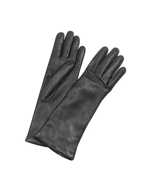 FORZIERI | Women's Cashmere Lined Black Italian Leather Long Gloves | Lyst