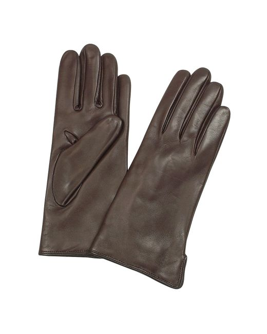 FORZIERI | Women's Dark Brown Cashmere Lined Italian Leather Gloves | Lyst