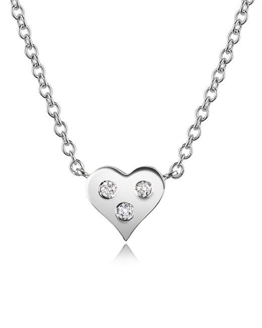 FORZIERI | White 0.05 Ct Diamond Heart Pendant Necklace | Lyst