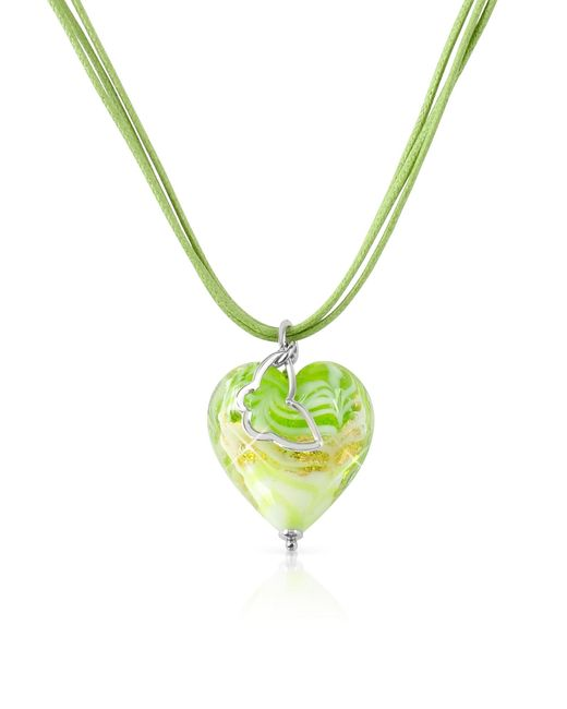 House of Murano | Metallic Mare - Lime Murano Glass Heart Pendant Necklace | Lyst