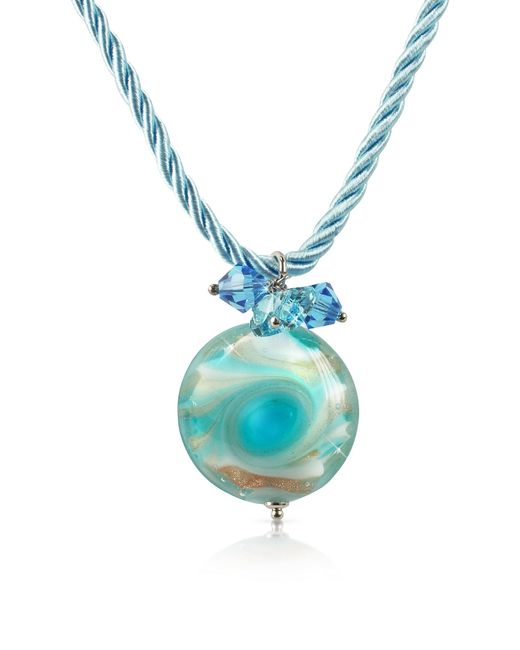 House of Murano | Blue Vortice - Turquoise Murano Glass Small Swirling Bead Necklace | Lyst