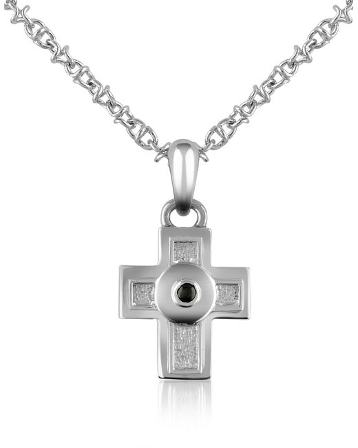 FORZIERI | Metallic Central Black Sapphire Stainless Steel Cross Pendant Necklace | Lyst