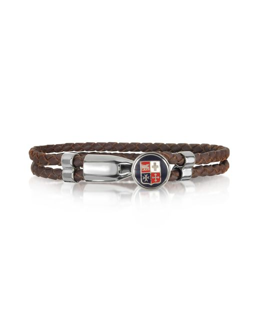 Forzieri   Blue Navy Maritime Republics Metal And Leather Men's Bracelet for Men   Lyst