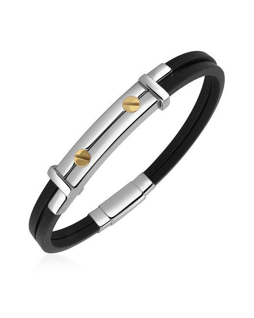 FORZIERI | Black Men's Stainless Steel And Rubber Screws Bracelet for Men | Lyst
