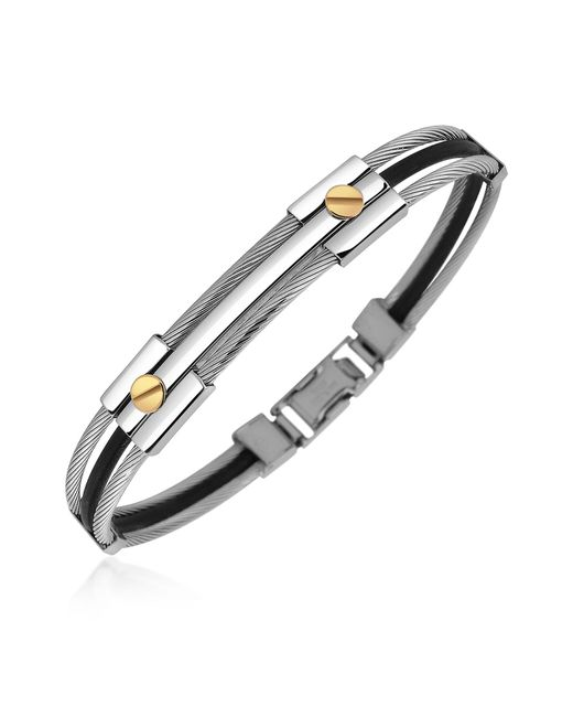 FORZIERI   Metallic Men's Stainless Steel And Rubber Screws Bracelet for Men   Lyst