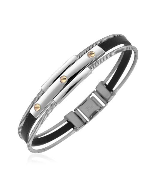 FORZIERI | Gray Men's Stainless Steel And Rubber Screws Bracelet for Men | Lyst