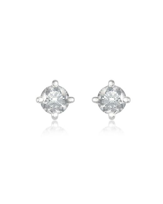 Forzieri | White 0.37 Ct Four-prong Diamond Stud Earrings | Lyst