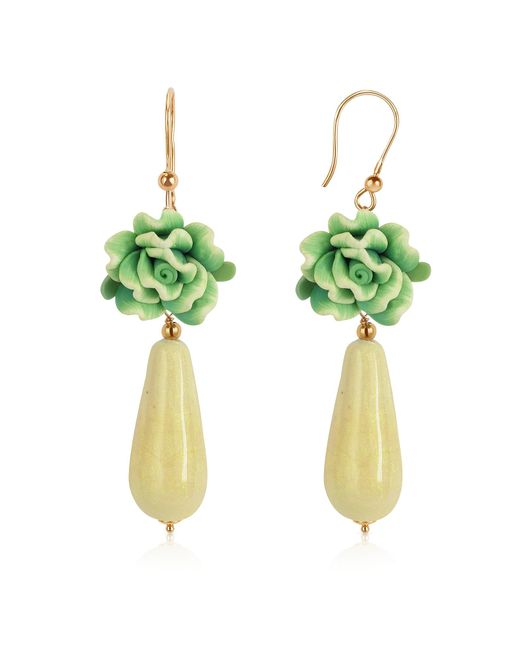 House of Murano | Green Rose Murano Glass Drop Earrings | Lyst