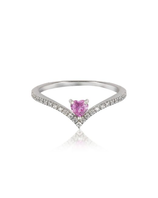 Forzieri   V-shaped Diamonds Band Ring With Enclosed Pink Natural Sapphire Heart   Lyst
