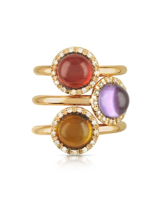 Mia & Beverly | Pink Gemstone And Diamond 18k Rose Gold Ring | Lyst