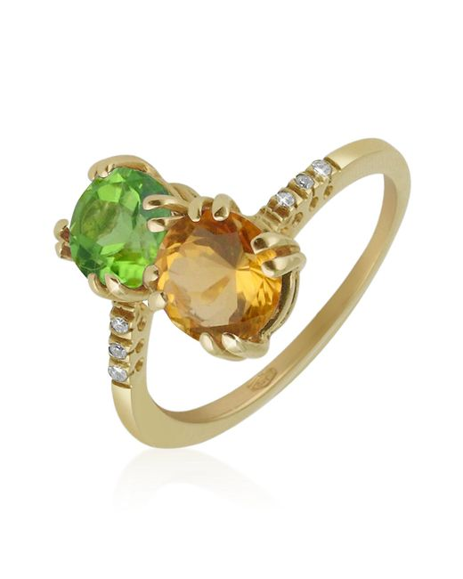 FORZIERI | Double Gemstone And Diamond Yellow Gold Ring | Lyst
