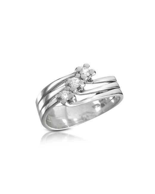 Forzieri | White 0.12 Ct Three-stone Diamond 18k Gold Ring | Lyst